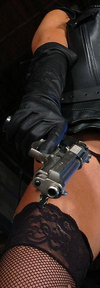 Sexy Girl Long Leather Gloves Gun